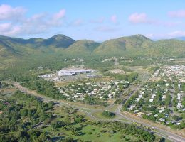 JCU's Townsville campus, nestled in the hills behind Townsville hospital in the foreground